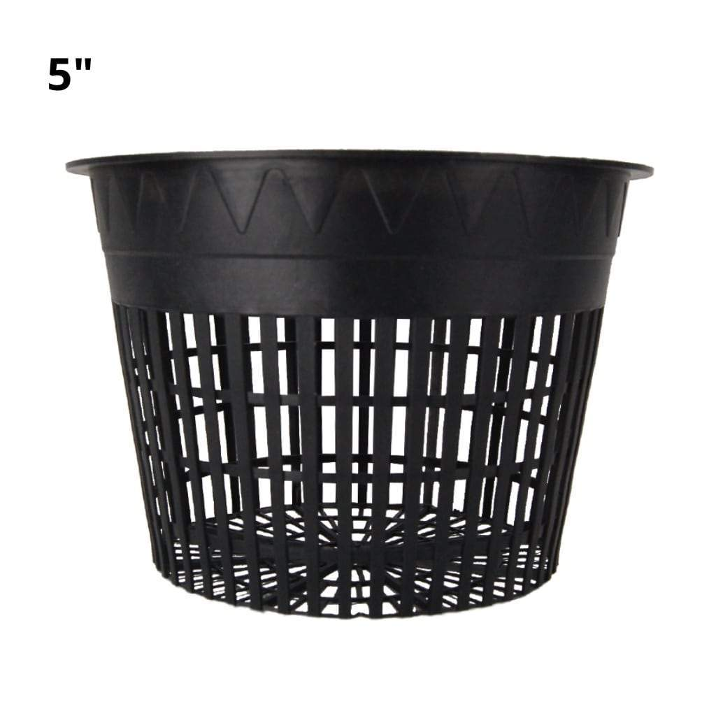 "5"" Black mesh pot with 5"" text in top left. White background"