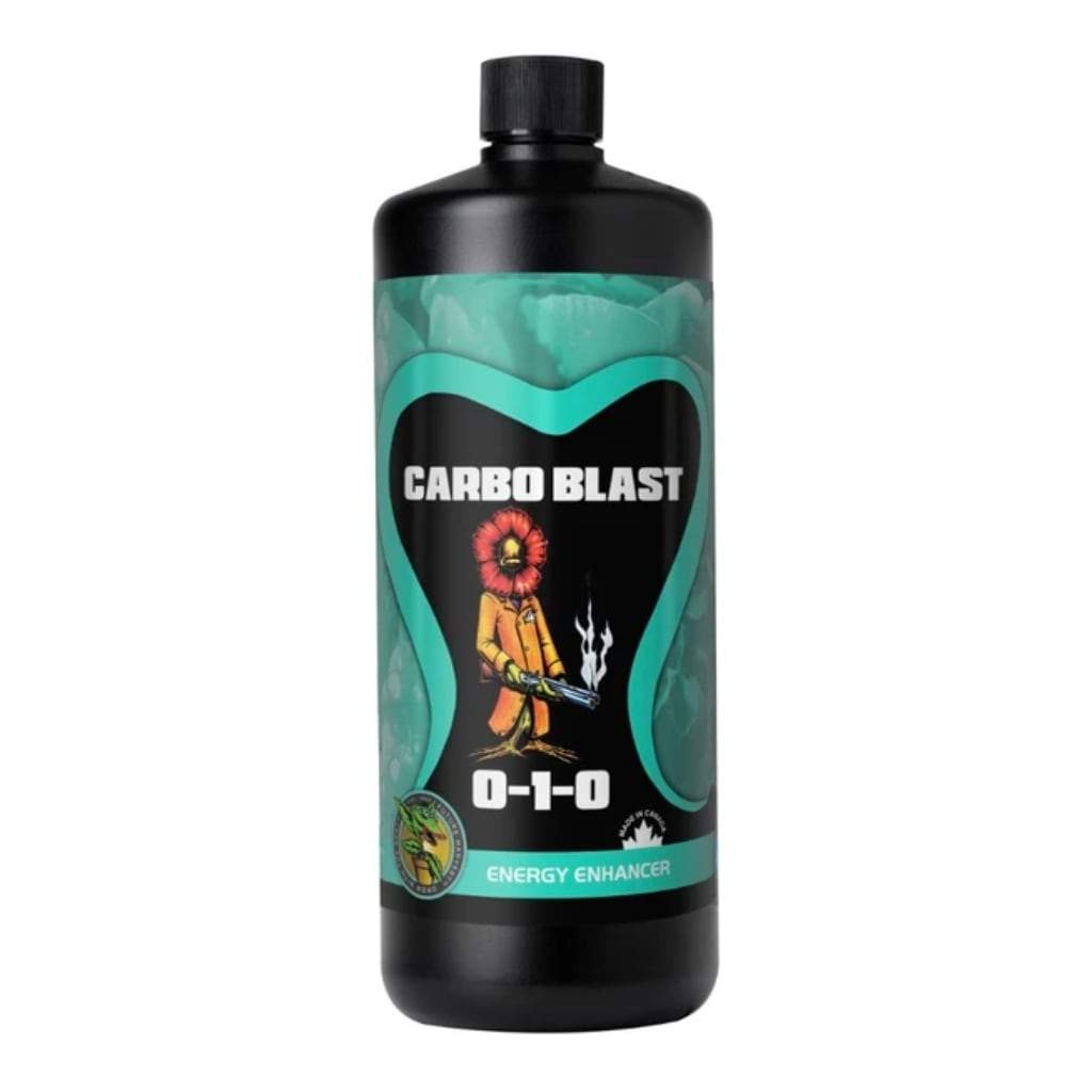 Black bottle of Carbo Blast energy enhancer nutrients on a white background