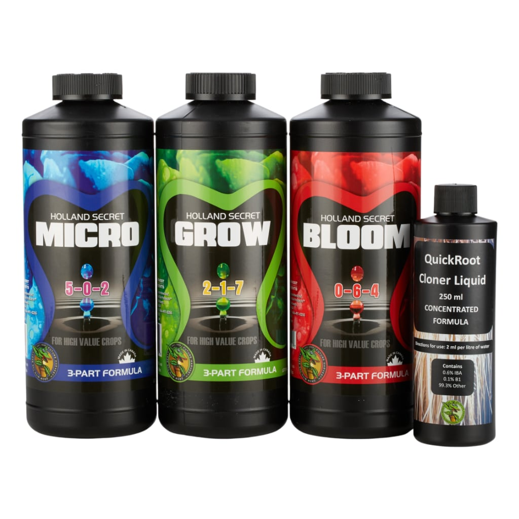 Black bottles of Micro, Grow, Bloom and QuickRoot Cloner Liquid on white background.