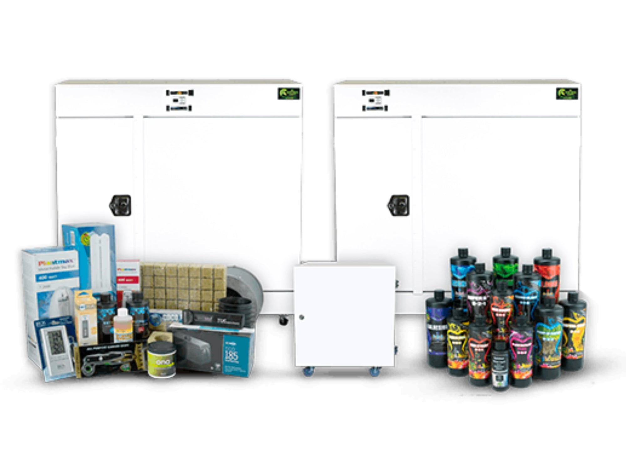 Photo including Bloombox, Producer, Dryer, Nutrients and accessories that come with the combo.