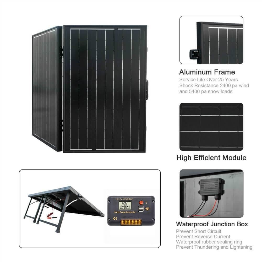 100W Monocrystalline Folding Solar Panel Charging 12V Battery