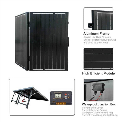 Image of 100W Monocrystalline Folding Solar Panel Charging 12V Battery