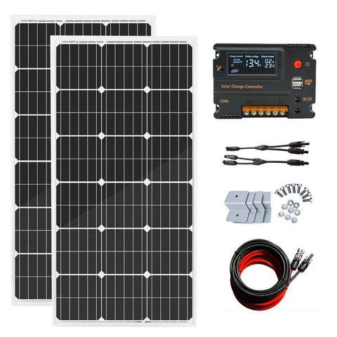 Image of Eco-Worthy 200W Off-Grid Solar System: Solar Panels + Charge Controller Kit