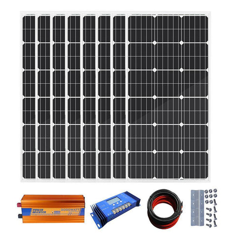Image of Eco-Worthy 800W Off-Grid Solar System: Solar Panels + Charge Controller + Inverter