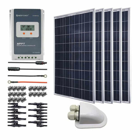 Image of ACOPOWER 500W 12V Poly Solar RV Kits, 40A MPPT Charge Controller