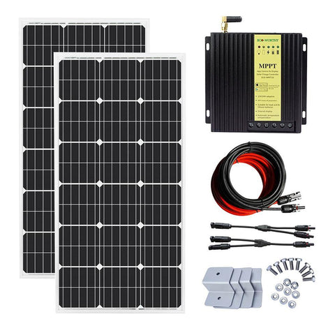 Image of Eco-Worthy 200W Solar Panels Off Grid Kit w/ MPPT & Cable Bluetooth Charging