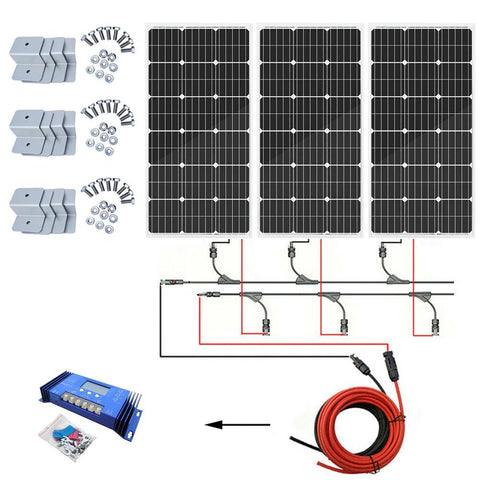 Image of Eco-Worthy 300W Off-Grid Solar System: Solar Panels + Charge Controller Kit - The Eco Store