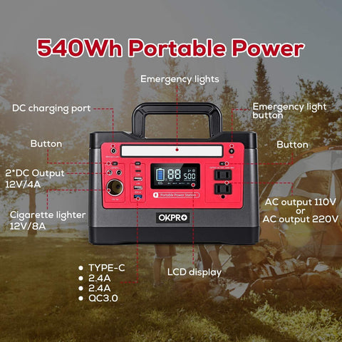 OKPRO 500W Outdoor Portable Power Station