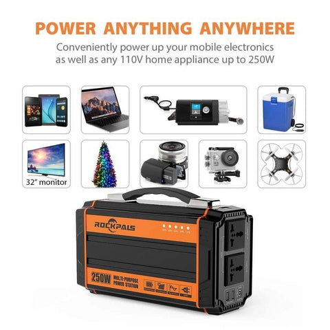 Rockpals 250W Portable Power Station + 60W Solar Panel Kit