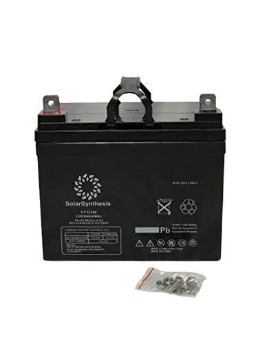 SolarSynthesis SSYN-12350NB - 12 Volt/35 Amp Hour Sealed Lead Acid Solar Rechargeable Battery with Nut-Bolt Connector