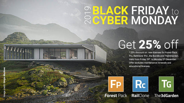 Black Friday and Cyber Monday Sale: Take 25% + Additional 5% Off IToo Software's Forest Pack, RailClone, and The3DGarden