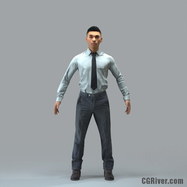 Asian Businessman - RIGGED 3D MODEL for 3ds Max or Cinema 4D (BMan0101M4CS, BMan0101M4C4D)