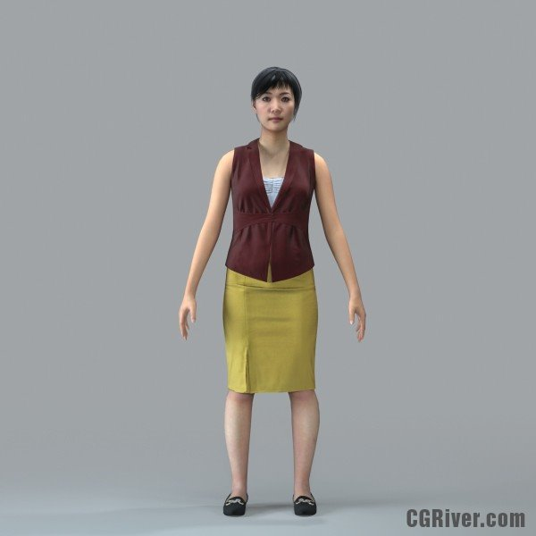 Asian Woman, Business - RIGGED 3D MODEL for 3ds Max or Cinema 4D (BWom0100M4CS, BWom0100M4C4D)