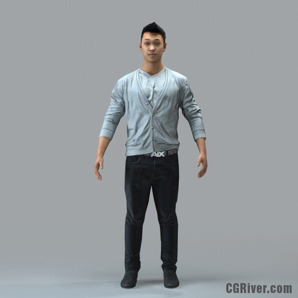 Asian Man, Casual - RIGGED 3D MODEL for 3ds Max or Cinema 4D (CMan100M4CS, CMan100M4C4D)