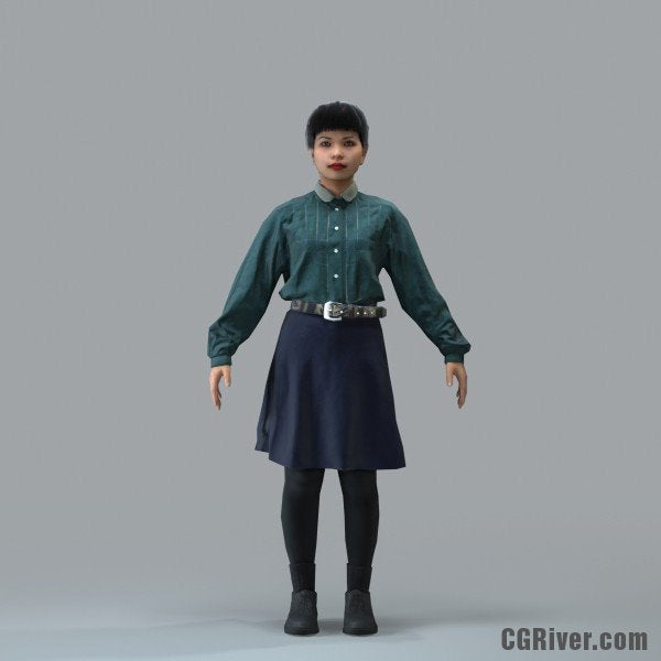 Asian Woman, Casual - RIGGED 3D MODEL for 3ds Max or Cinema 4D (CWom0104M4CS, CWom0104M4C4D)