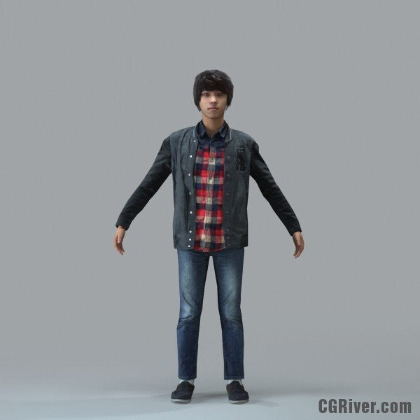 Asian Man, Casual - RIGGED 3D MODEL for 3ds Max or Cinema 4D (CMan102M4CS, CMan102M4C4D)