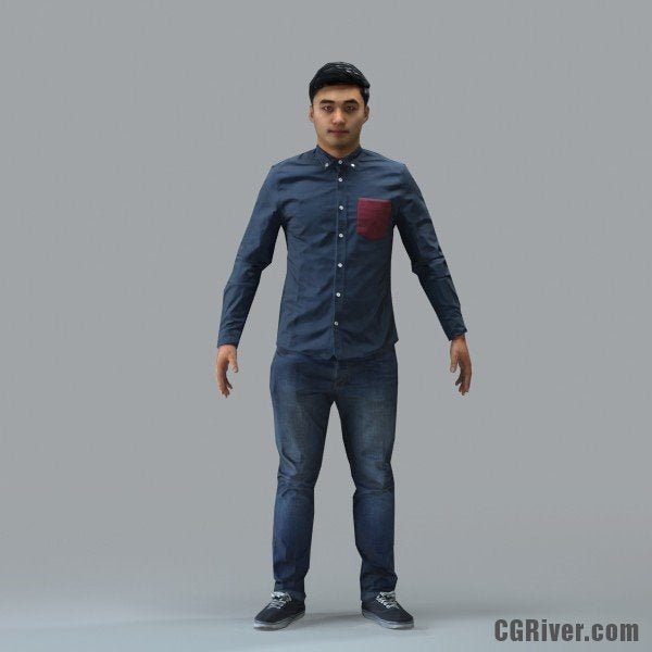 Asian Man, Casual - RIGGED 3D MODEL for 3ds Max or Cinema 4D (CMan104M4CS, CMan104M4C4D)