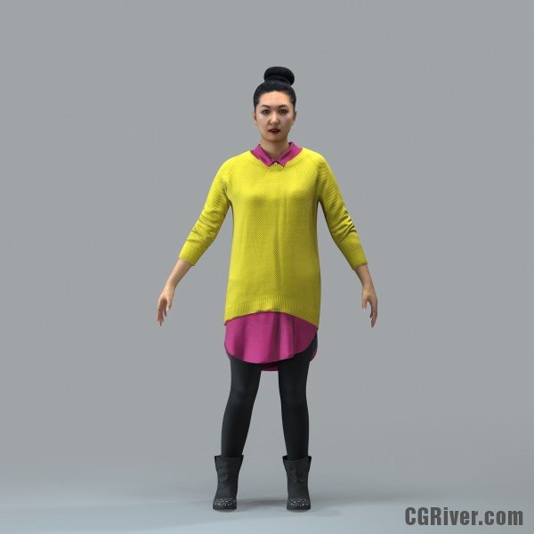 Asian Woman, Casual - RIGGED 3D MODEL for 3ds Max or Cinema 4D (CWom0101M4CS, CWom0101M4C4D)