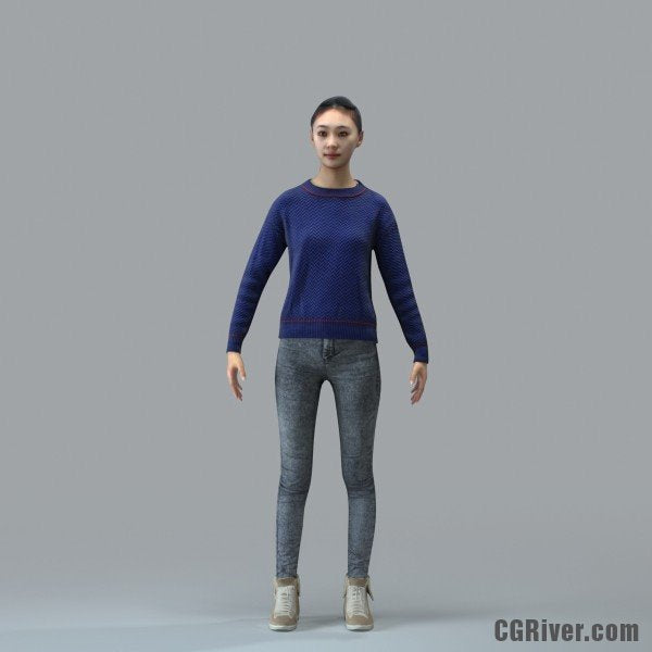 Asian Woman, Casual - RIGGED 3D MODEL for 3ds Max or Cinema 4D (CWom0103M4CS, CWom0103M4C4D)