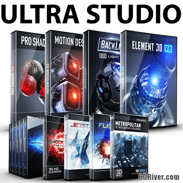 ULTRA STUDIO Bundle:  Element 3D + Pro Shaders 2 + BackLight + Motion Design II + MotionPulse + Shockwave + JetStrike + Flight..