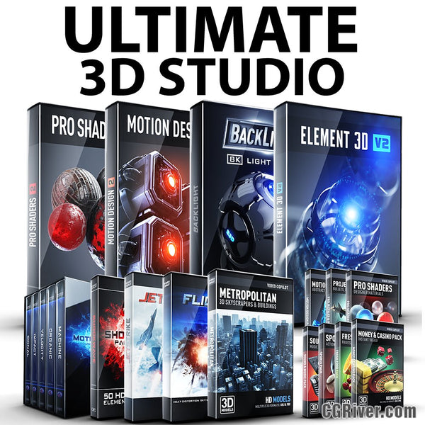 ULTIMATE 3D Studio Bundle: Element 3D + Pro Shaders 2 + BackLight + Motion Design II + MotionPulse + Shockwave + JetStrike