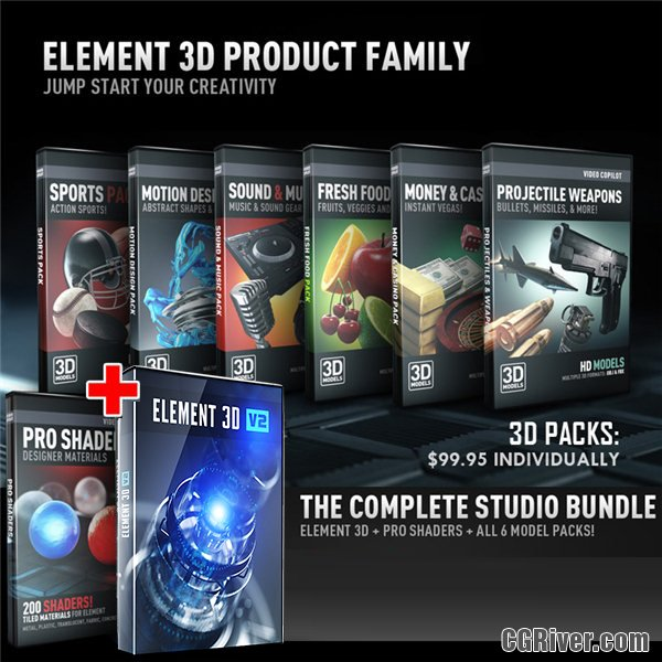 The Studio Bundle (Element Studio) | Element 3D + Pro Shaders + All 6 Model Packs