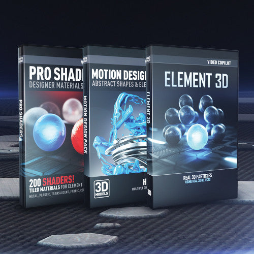 3D Design Bundle | Element 3D + Motion Design Pack + Pro Shaders