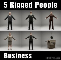 BUSINESS PEOPLE- 5 RIGGED 3D MODELS (MeBuCS003b)