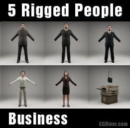 BUSINESS PEOPLE- 5 RIGGED 3D MODELS (MeBuCS003a)