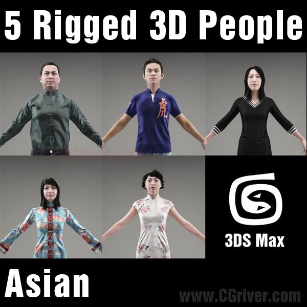 Asian People- 5 Rigged 3D Models (MeAsCS001M3)