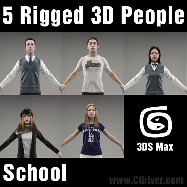 3D People- 5 Rigged 3D Models (MeMsCS007M3)