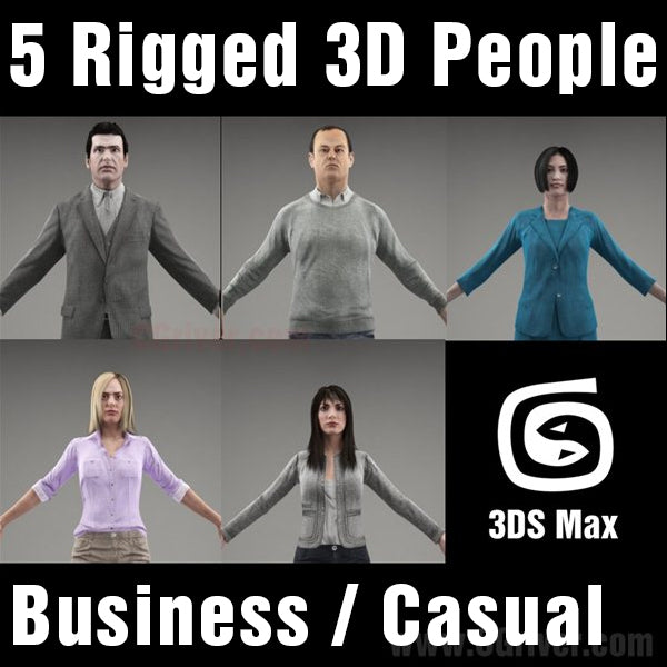 3D People- 5 Rigged 3D Models (MeMsCS003M3)