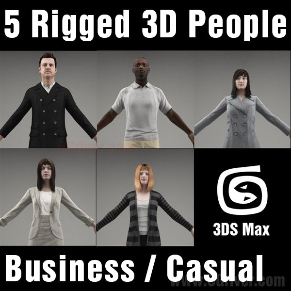 3D People- 5 Rigged 3D Models (MeMsCS004M3)