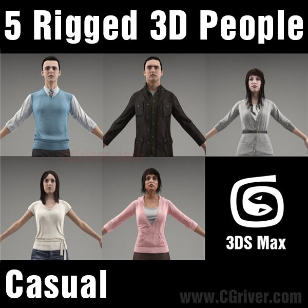 3D People- 5 Rigged 3D Models (MeMsCS005M3)