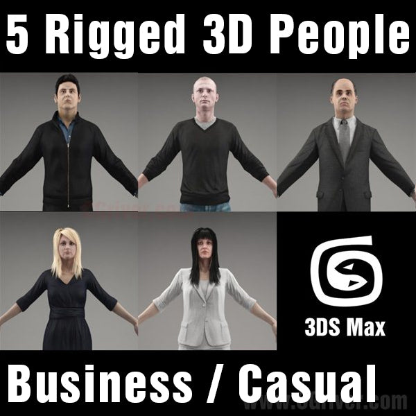 3D People- 5 Rigged 3D Models (MeMsCS002M3)