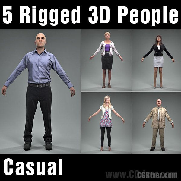 3D PEOPLE- 5 RIGGED 3D MODELS (MeMsCS002M4)