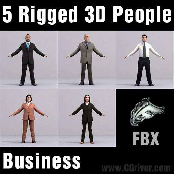 BUSINESS PEOPLE- 5 FBX RIGGED MODELS (MeBuFBX001a)