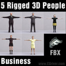 BUSINESS PEOPLE- 5 FBX RIGGED MODELS (MeBuFBX002b)