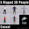 CASUAL PEOPLE- 5 FBX RIGGED MODELS (MeCaFBX003a)