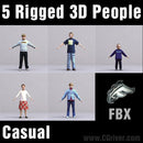 CASUAL PEOPLE- 5 FBX RIGGED MODELS (MeCaFBX004a)