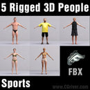 ATHLETES (SPORT)- 5 FBX RIGGED MODELS (MeSpFBX001a)
