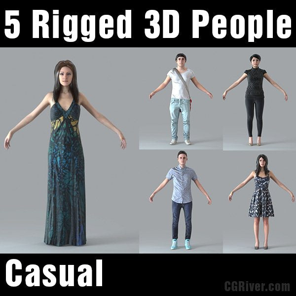 3D PEOPLE- 5 RIGGED 3D MODELS (MeMs003M4)