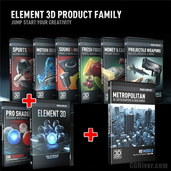 Ultimate 3D Bundle | Element 3D + Metropolitan + Pro Shaders + All 6 Model Packs