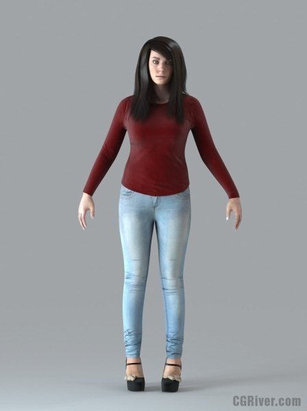 CASUAL Woman: Rigged 3D Woman (CWom0019M4CS)
