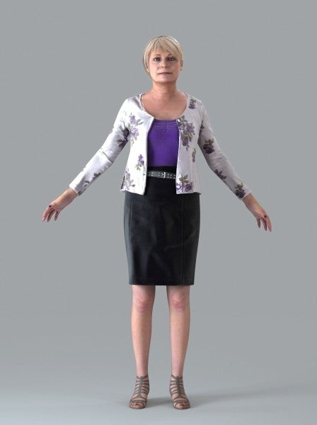 Old Casual Woman - Rigged 3D Human Model (CWom0016M4CS)
