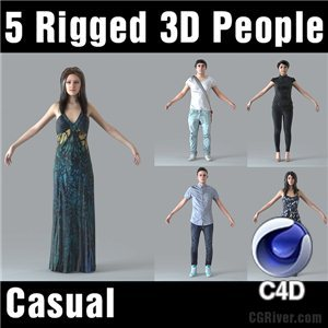 Cinema 4D Humans - 5 RIGGED 3D MODELS (MeMsC4D003M4)