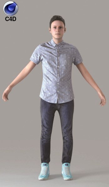Cinema 4D CASUAL MAN - RIGGED 3D MODEL (CMan0019M4C4D)