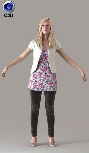 Cinema 4D CASUAL WOMAN - RIGGED 3D MODEL (cwom0011m4c4d)