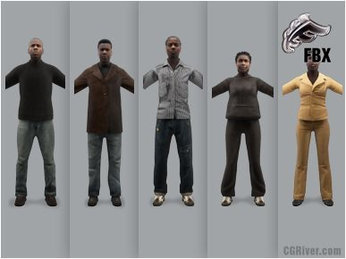 CASUAL PEOPLE- 5 RIGGED 3D FBX MODELS (MeCaFBX006a)