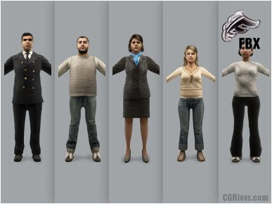 AIRPORT PEOPLE- 5 RIGGED 3D FBX MODELS (MeApFBX001b)
